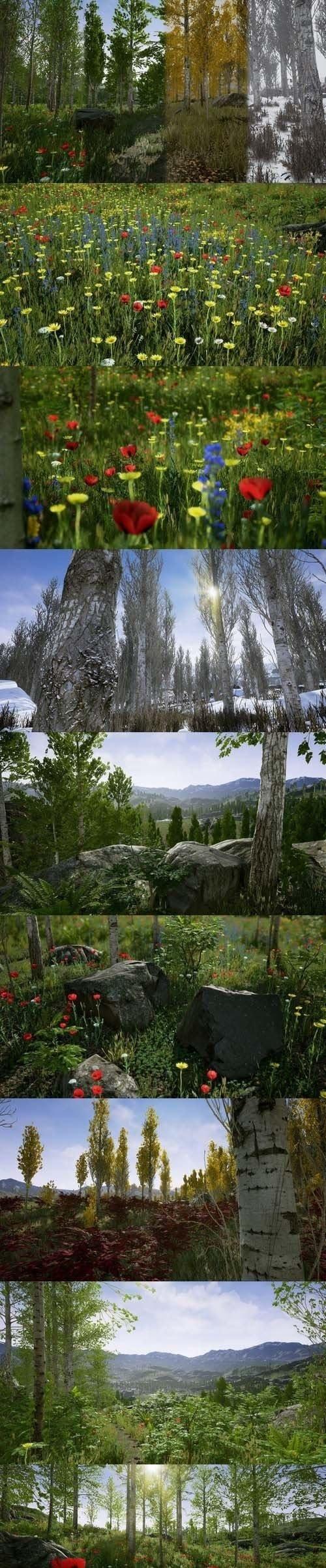 虚拟引擎4模型包-照片级高清花草树木
