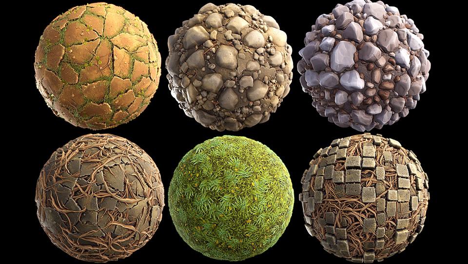 UE4风格化地形包50种材质